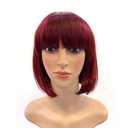 Nadazaa Peluca mujer de pelo corto Vino Tinto natural Bob peinado color con flequillo uso diario Anime Cosplay Fiesta Halloween