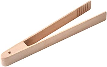 BESTONZON 1 Pc Bamboo Toaster Kitchen Tongs Long Easy Grip Toaster Serving Tongs for Cooking Toast Bread Barbecue Grilling Baking Frying(30CM)