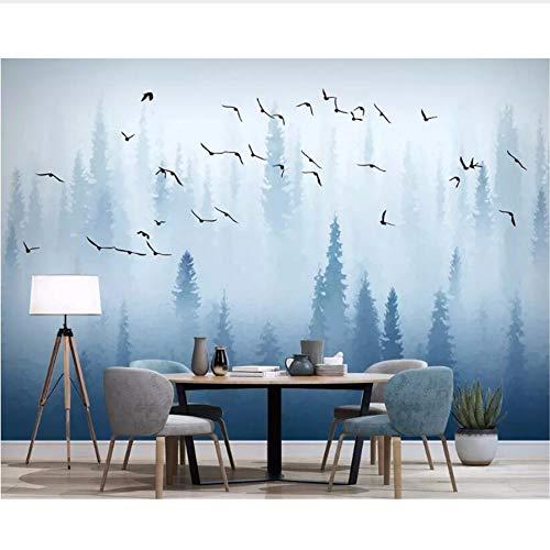 Pmhc Peint Photo gepersonaliseerde 3D Abstrait pin Nordique Forêt Oiseau Bleu Moderne Fond Tv Mur 3D-papier Peint 150 x 120 cm.