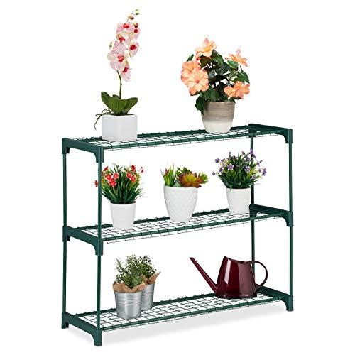 Relaxdays plantenrek, 3 planken, voor bloemen- en plantenpotten, indoor, metaal & kunststof, HBT 74,5 x 91 x 28,5 cm, groen, 1 stuk