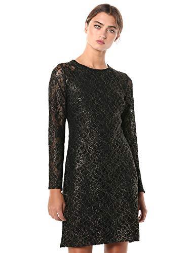 Tommy Hilfiger Women's Long Sleeve A-line Lace Dress, Black/Gold, 16