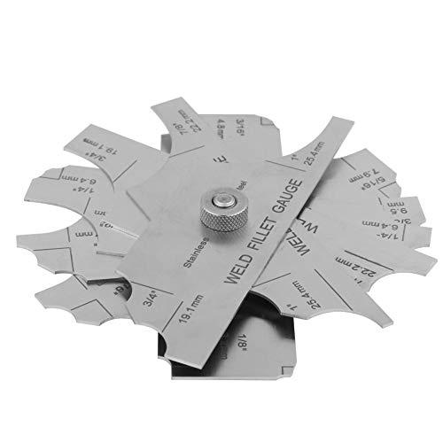 Conjunto de medidor de soldadura, conjunto de medidor de inspección de soldadura de filete Rango de medida Imperial 1/8'-1' y métrico: (3.2-25.4 mm) Herramientas de inspección de soldadura