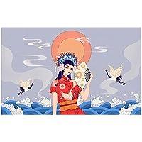 Hbdjns 中国の京劇の肖像画壁アートキャンバスポスター絵画アートポスターとプリント写真リビングルームの装飾-50X75Cmx1フレームなし