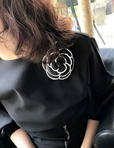 SFFSMD Einfache Big Stoff Weiß Saturna Blumen Broschen for Frauen Mode Kleidung Corsagen Schmuck Zubehör Großhandel (Metal Color : Schwarz)