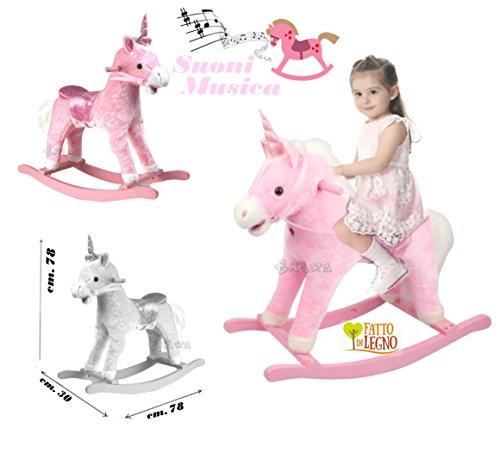 Cavallo a Dondolo Principessa in Legno e Peluche Pony Unicorno Rosa con Musica