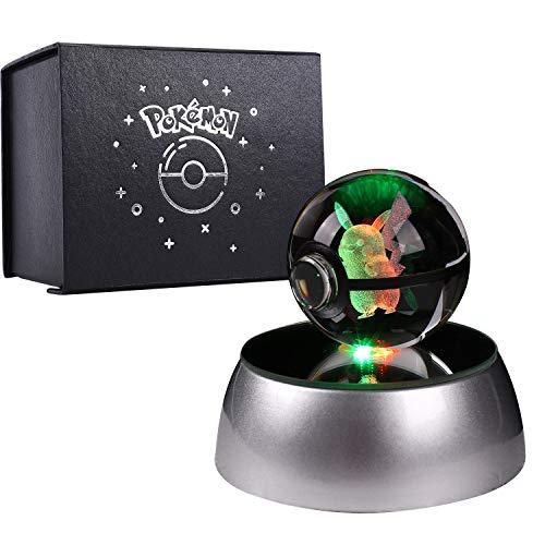 Herefun 3D Kristall Ball, 3D-lasergravierte Kristallkugel Geschenkideen Pokemon Lasergravierte Kristallkugel für Geburtstag mit drehbarer LED-Sockel - Pikachu