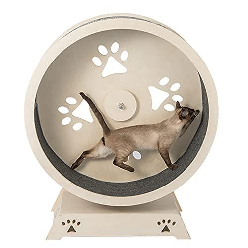 Grande roue d'exercice pour chat en bois massif, roue de course pour chat au design unique et silencieux en bois avec tapis adapté aux petits, moyens et grands chats et autres animaux, diamètre 100