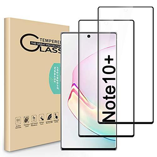 Seinal Protector de pantalla de cristal blindado compatible con Samsung Galaxy Note 10+/Plus (2 unidades) 3D, cobertura completa HD, protector de pantalla de vidrio templado para Galaxy Note 10+