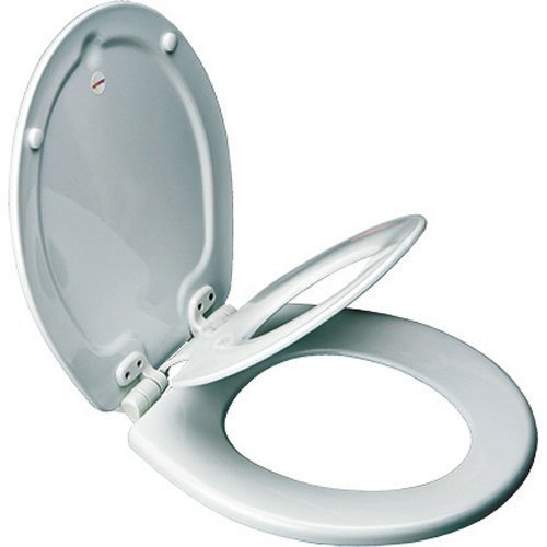 MAYFAIR 883SLOWA 000 Toilet Seat with Built-in Potty Training Seat will Reduce Clutter, Slow Close and Never Loosen, ROUND, Durable Enameled Wood/Long Lasting Plastic, White