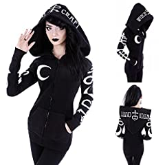 【Zipper Sweatshirt Hoodies for Women】Warm and soft inside, made of thick, high quality Polyester cotton blended.Black Cardigan, Huge oversized hood, Moon letter Printing on the jacket. Women's Gothic Coat With Moon letter printed is fashion and speci...