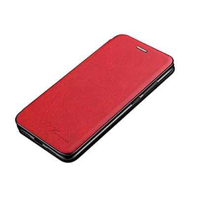 Fvntuey Wallet Case Magnetic for Samsung Galaxy A10 with   Genuine Slim Vintage Synthetic Leather Card Cover   360°Bumper Flip Folio?[Magnetic Adsorption] Slots Compatible with Galaxy A10(Red)