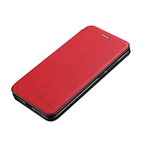 Suhctup Coque Compatible pour iPhone XR [Intérieur Microfibre] Magnétique Clip Portable Antichoc Silicone Bumper Housse,Mince Rabat Fentes pour Cartes avec Stand Pliant Kickstand(Rouge)