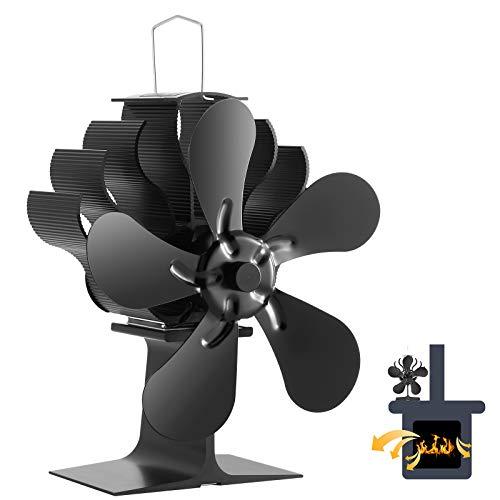 Ventilador Estufa 5 Aspas Funcionamiento Silencioso Ventilador Estufa de Energía Térmica Ecofan...