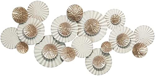 LLC- SUDA Arte de Pared de Metal, Escultura de Arte de Pared de Metal, 3D Lotus Lotus Lotus Leaf Fan-Formed Decoración del hogar Hollow Gold Foil Proceso Anti-Rust Rust 141x73x7cm (55x28x2inch)