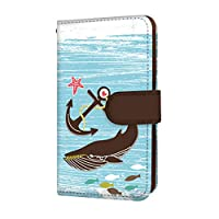 anve BASIO KYV32 国内生産 カード スマホケース 手帳型 KYOCERA 京セラ ベイシオ 【A.ブルー】 海 クジラ 錨 best_vd-0067