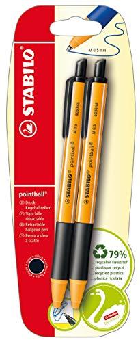 Penna a Sfera Ecosostenibile - STABILO pointball - 79% Plastica Riciclata - Pack da 2 - Nero