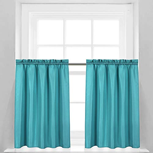 Valea Home Waffle Weave Textured Bathroom Window Curtains Water Repellent Short Curtains Window Covering Half Window Curtains Kitchen Tiers 36 inch Length, Turquoise, Set of 2