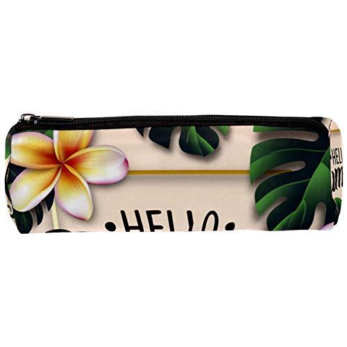 Hello Summer Exotic Leaves Frangipani - Estuche para lápices, diseño de flores con cremallera, organizador de monedas, para maquillaje, para mujeres, adolescentes, niñas y niños