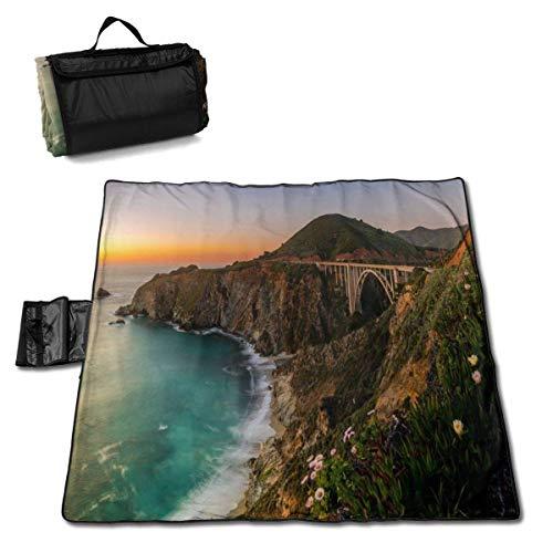 Creek Bridge Coast Big sur Nature Scenery Couverture de Plage Tapis de Pique-Nique Sac fourre-Tout Compact avec Sangle