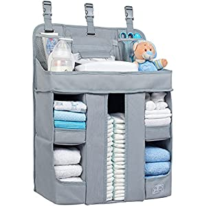 crib bedding and baby bedding xl hanging diaper caddy organizer – reinforced diaper stacker for crib that keeps shape – hanging diaper organizer for changing table, playard, wall & door – diaper holder for newborn baby girl & boy