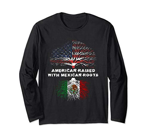 American Raised with Mexican Roots USA Flag Long Sleeve