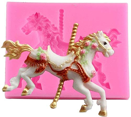 FUROO Silicone 3D Carousel Horse Mould Fondant Cake Molds Kitchen Decorating Mold Candy Clay Gumpaste Chocolate Wax Moulds