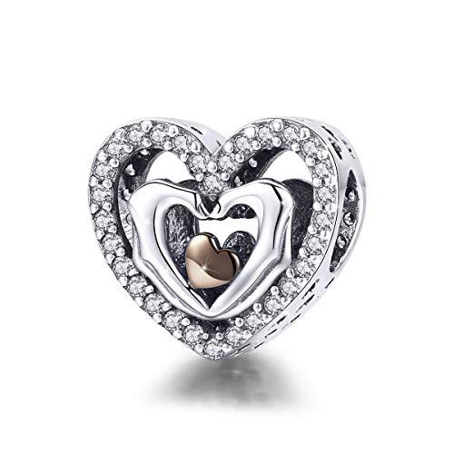 Anhänger/Charm aus 925er Sterlingsilber, Herzform mit Händen, Liebes-Anhänger, kompatibel mit Pandora-Armband, Schmuckgeschenk Stil Nr. 4