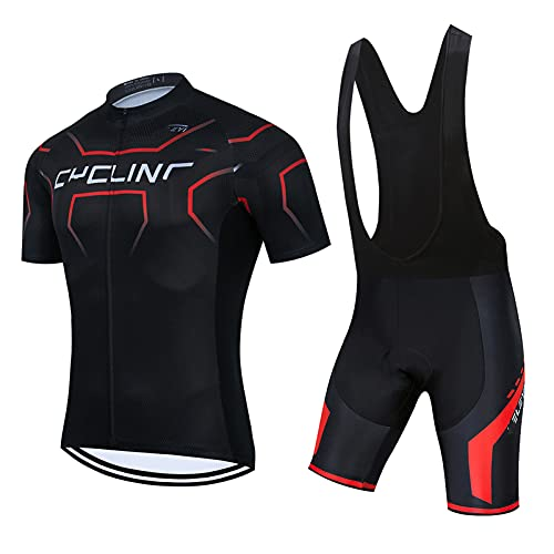 Men's Cycling Suit Short Sleeve Cycling Clothing Set Breathable and Quick Dry Cycling Clothing with Gel Padded Bib Shorts for Summer (DJ05,S)