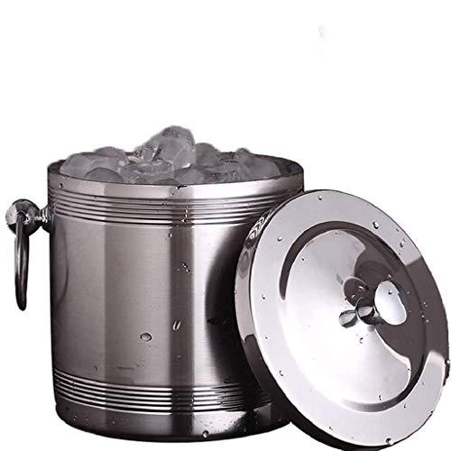 YWSZJ Candy Ice Bucket - Eiskübel aus doppelwandigem Edelstahl mit Eiszange, Schaufel, Deckel und exklusivem handgefertigtem Nylon