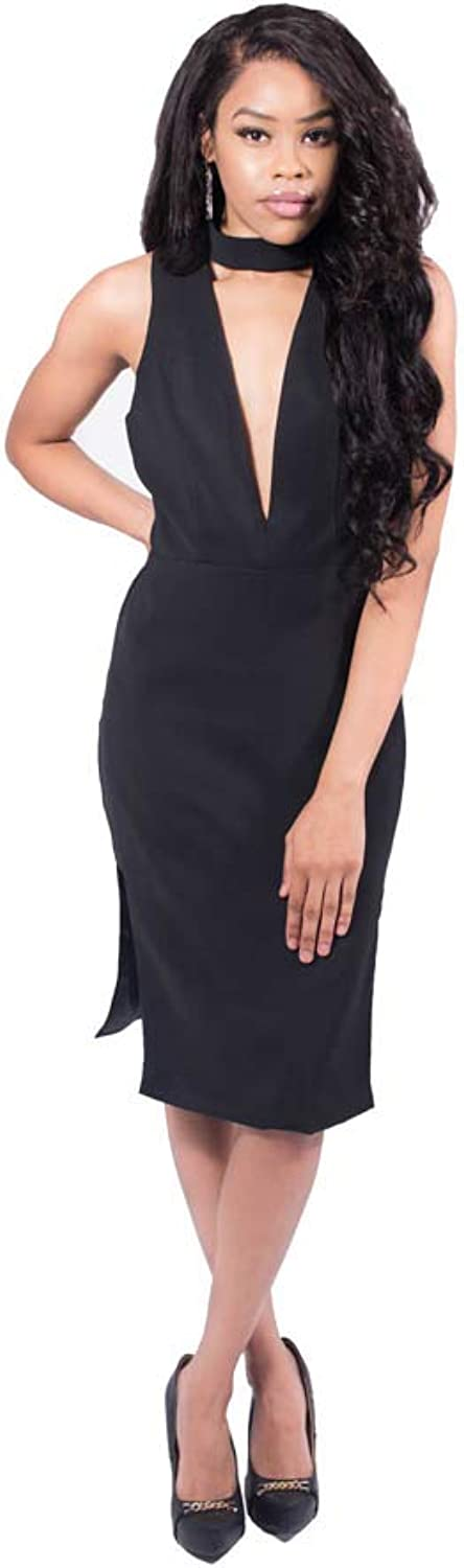 Elles Sleeveless Deep V Neck Little Black Dress
