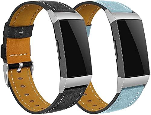 Chainfo Piel Correa de Reloj Compatible con Fitbit Charge 4 / Charge 4 SE/Charge 3 SE/Charge 3, Correa/Banda/Pulsera/Recambio/Reemplazo/Strap de Reloj (2-Pack G)