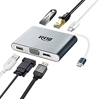 Amazon - Save 50%: RDII USB C to HDMI VGA Ethernet Adapter 6 in 1 Multi Type C Hub with 4K…