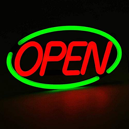"""MaxLit 24"""" x 12'' New Ultra Bright Oval LED Neon Sign - OPEN - Remote Controlled (Green/Red)"""