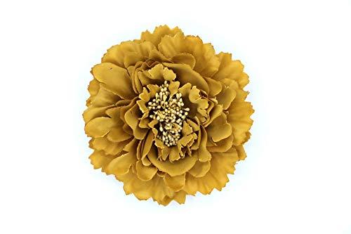 Flore de tela con broche 'Elena' (Mostaza)