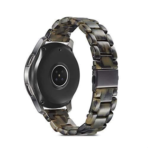 FAAGFC Correa para Samsung Galaxy Watch 46mm Active 2 40 44mm 20 mm 22mm Reloj de Resina Strap Gear ST3 Band Reemplazo para el Reloj Huawei GT (Band Color : Black Green, Band Width : 20mm)