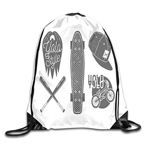 Mochila con cordón para gimnasio, diseño nostálgico de Doodle con fondo de puntos, arreglo de crecimiento de la naturaleza, mochila para escuela, deportes, viajes, mujeres, niños, regalo de cumpleaños