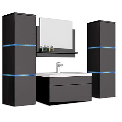 Home Deluxe - Badmöbel-Set - Wangerooge schwarz - X-Large - inkl. Waschbecken und komplettem Zubehör - Breite Waschbecken: ca. 60 cm | Badezimmermöbel Waschtisch Badmöbelset
