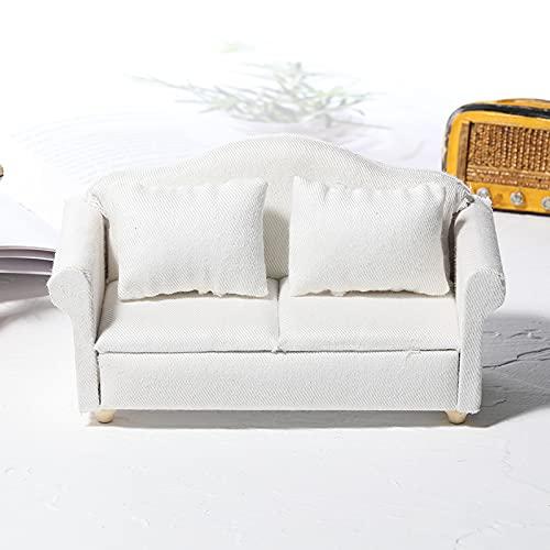 1:12 Casa De Muñecas Mini Muebles En Miniatura Sofá De Tela Blanca Juego De 3 Piezas Modelo En Miniatura Campo-Accesorios De Bricolaje Decoración (Doble blanco)