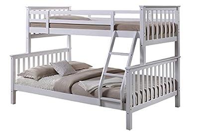Sleep Design Oscar White Solid Wooden Kids Bunk Bed Triple Sleeper Single, Double
