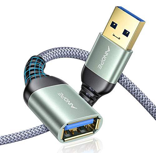 AINOPE USB 延長 [2M 2本組 グレー] USB3.0 延長ケーブル 金メッキコネクタ 高速データ転送 aオス-aメス USBケーブル 延長コード