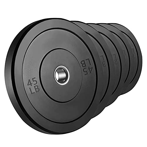 NN/AA Olympic Barbell Weight Plates 2 inch Weight Lifting Plate 10-45LB Rubber Bumper Plates for Strength Training (45LBx2)