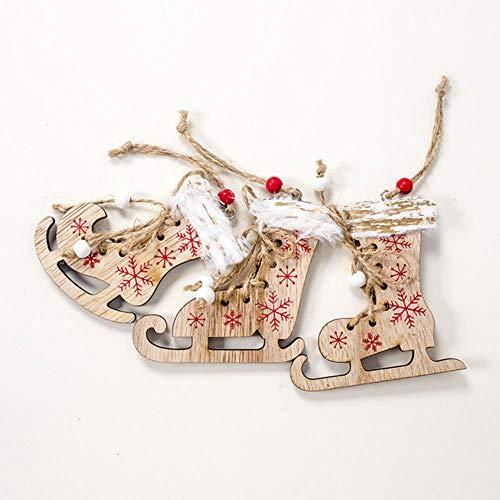 WANGTONG Palline di Natale 3 Pezzi Pattini da Ghiaccio Scarpe Ornamenti Appesi Ciondolo Artigianato in Legno Palline Fai da Te Capodanno 2020 Albero di Natale per La Casa, Pattini da Ghiaccio Marrone