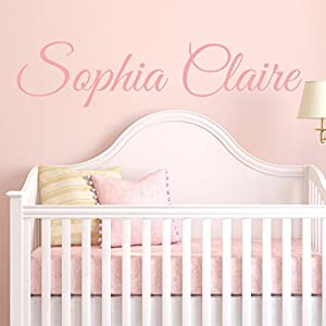 Fancy Cursive Single Personalized Custom Name Vinyl Wall Art Decal Sticker 28″ W, Girl Name Decal, Girls Name, Nursery Name, Girls Name Decor, Girls Bedroom Decor, PLUS FREE 12″ WHITE HELLO DOOR DECAL