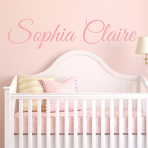 Fancy Cursive Single Personalized Custom Name Vinyl Wall Art Decal Sticker 28' W, Girl Name Decal, Girls Name, Nursery Name, Girls Name Decor, Girls Bedroom Decor, PLUS FREE 12' WHITE HELLO DOOR DECAL