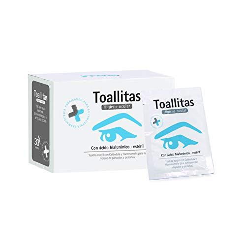 Toallitas Oftálmicas Estériles 30 unidades (Acido Hialurónico + Caléndula + Hammamelis) Higiene de párpados y pestañas.