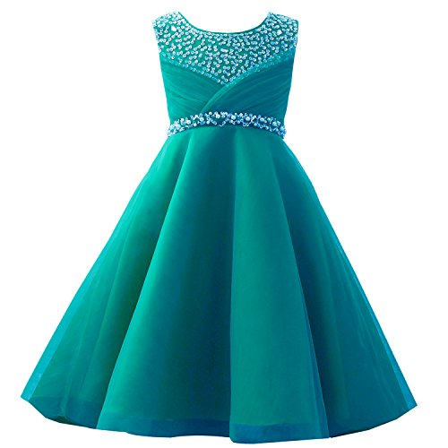 Castle Fairy Girls' First Communion Organza Sequin Pearls Flower Girl Dress with Train (6, Teal)