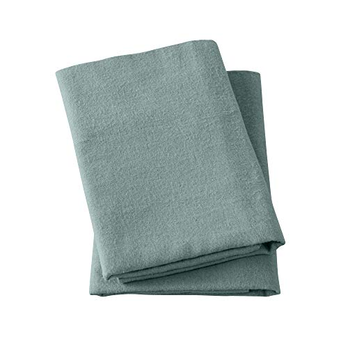 Extra Soft 100% Turkish Cotton Flannel Pillowcase Set. Warm, Cozy, Lightweight, Luxury Winter Bed Pillowcases in Solid Colors. Nordic Collection (Standard, Thyme Green)