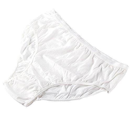 Ropa Interior de algodón desechable 100% Puro Bragas de Viaje Corte Alto Granny Briefs Blanco/Multicolor (10 Piezas) (Blanco, Pequeño - Cintura 61-74cm, Caderas 74-98cm)