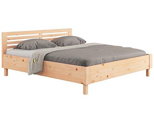 LaModula Zirbenbett Moritz | metallfreies Zirbenholzbett | Arvenbett | Massivholzbett | Bett natürlich & unbehandelt (180 x 200 cm)
