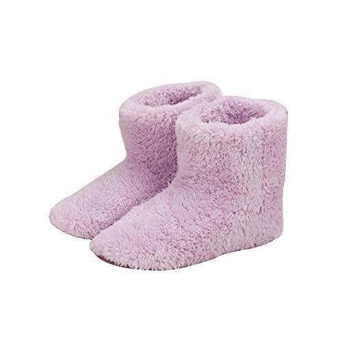 Calentador de pies eléctrico, de felpa suave, que se calienta a través de USB - Par de zapatillas con almohadilla de calefacción eléctrica para los pies, muy cálidas para aliviar el frío del invierno